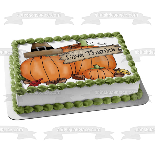 Thanksgiving Harvest Pumpkins Give Thanks Edible Cake Topper Image ABPID06602