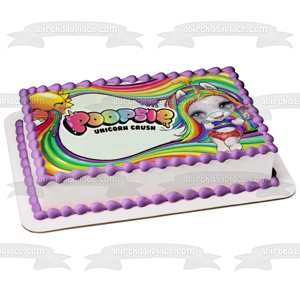 LOL Poopsie Unicorn Crush Rainbow Glitter and Slime Surprise Sun Edible Cake Topper Image ABPID50907
