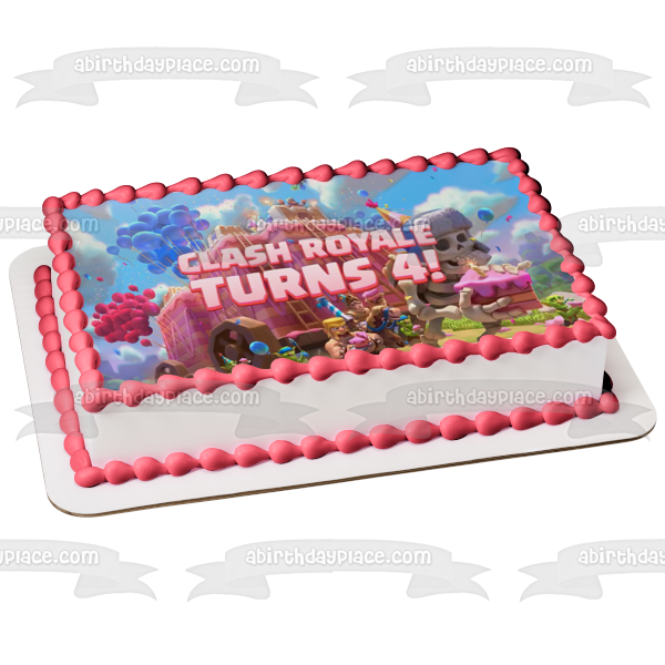 Clash Royale Turns 4 Barbarians Giant Skeleton Goblins Prince Balloons Cake Castle Happy Birthday Edible Cake Topper Image ABPID51103