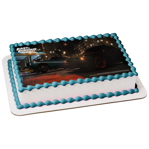 Fast and Furious Crossroads Race Cars Edible Cake Topper Image ABPID51959