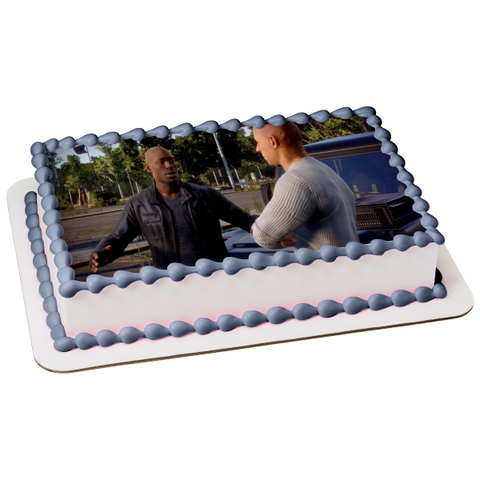 Fast and Furious Crossroads Dominic Toretto Roman Pearce Edible Cake Topper Image ABPID51960