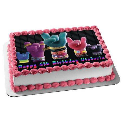 Trolls World Tour Happy Birthday Personalized Rock Hands Edible Cake Topper Image ABPID51988