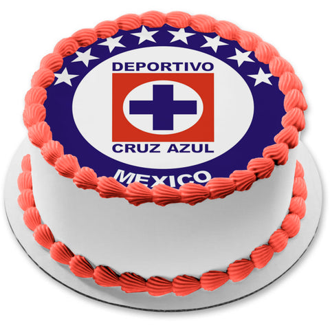 Cruz Azul Mexican Football Club Logo Edible Cake Topper Image ABPID10782