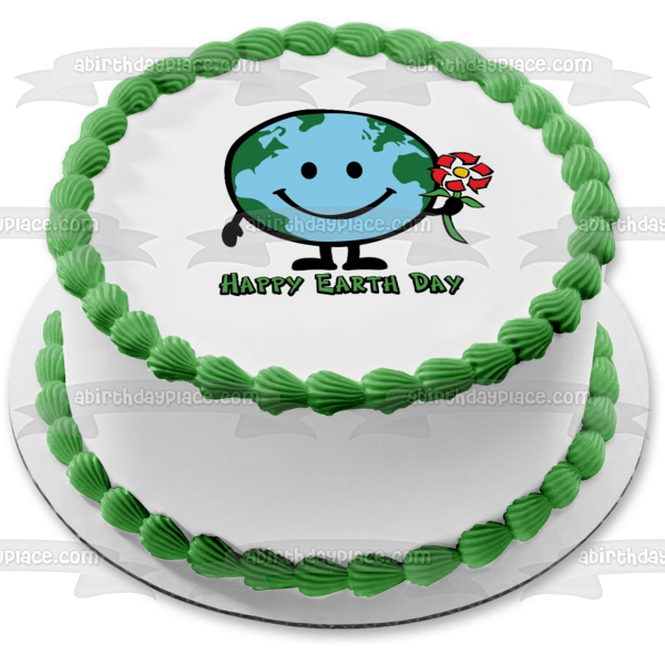 Happy Globe Day Earth Smiling Recycle Sign Flower Edible Cake Topper Image ABPID51219