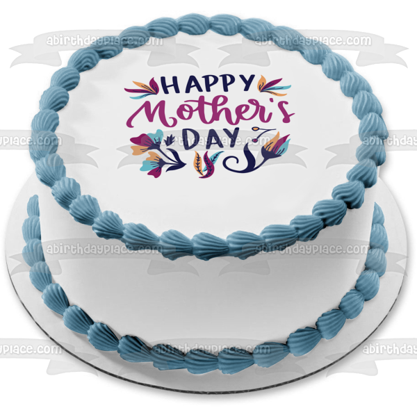 Happy Mother's Day Purple and Blue Flowers Edible Cake Topper Image ABPID51228