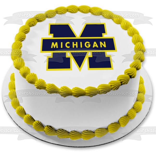 University of Michigan Wolverines Logo NCAA College Sports Edible Cake Topper Image ABPID51000