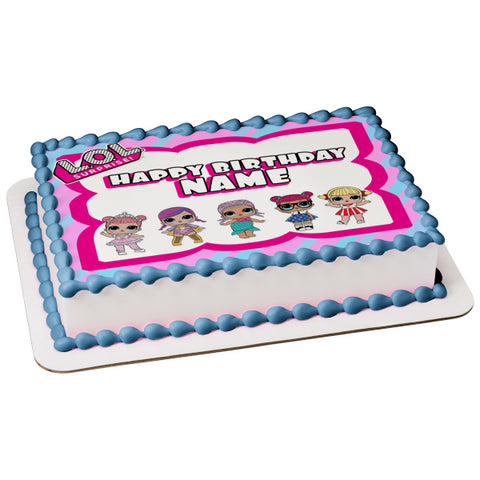 Lol Surprise Happy Birthday Border Teacher's Pet Merbaby Super B.B. Center Stage Cheer Captain Personalizable Edible Cake Topper Image ABPID52223