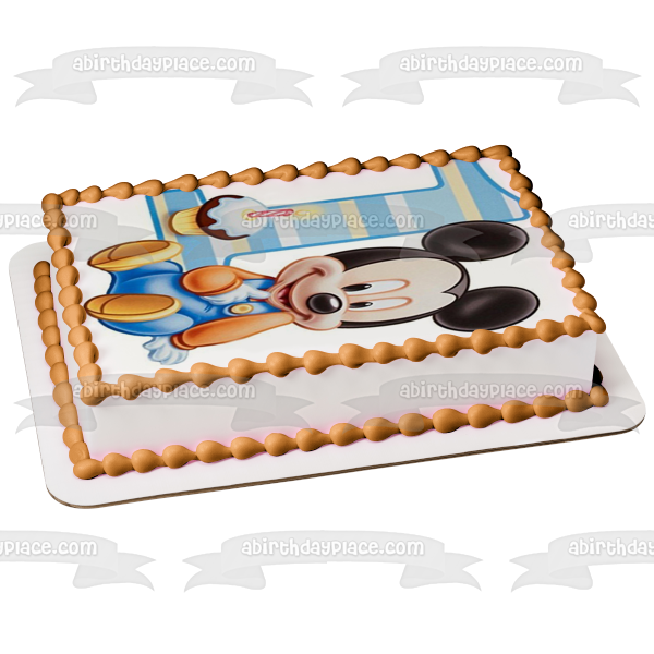 Baby Mickey Mouse 1st Birthday Cupcake Edible Cake Topper Image ABPID00096