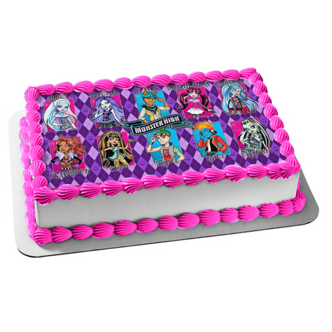 Monster High Abbey Spectra Clawd Draculaura Ghoulia Clawdeen Cleo Deuce Holt Frankie Edible Cake Topper Image ABPID00140