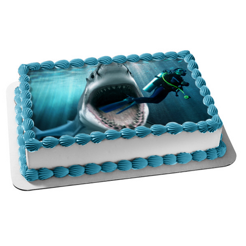 Great White Shark Mouth Open Teeth Attacking SCUBA Diver Edible Cake Topper Image ABPID00170