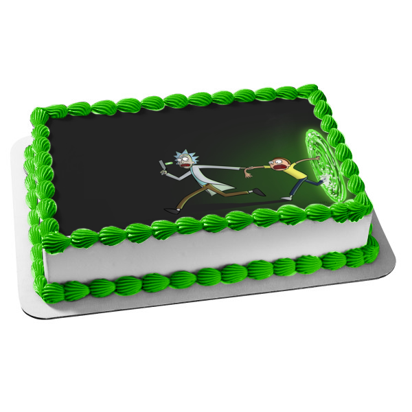 Rick and Morty Rick Sanchez Morty Smith Green Portal Edible Cake Topper Image ABPID00295