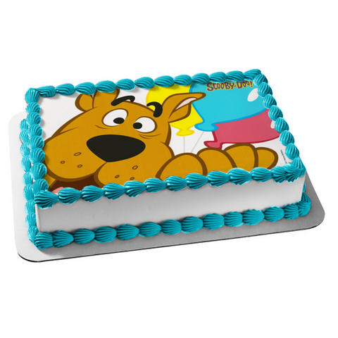 Scooby-Doo Yellow Blue Pink Balloons Edible Cake Topper Image ABPID00309