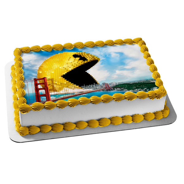 Pac Man Pixels San Francisco Bridge Edible Cake Topper Image ABPID00330