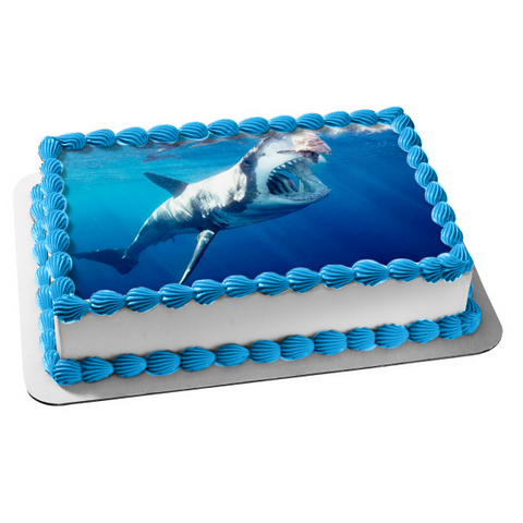 Great White Shark Ocean Open Mouth Sharp Teeth Edible Cake Topper Image ABPID00334