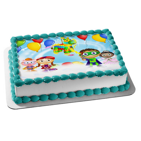 Super Why Princess Pea Alpha Pig Little Red Riding Hood Pinata Balloons Edible Cake Topper Image ABPID00355