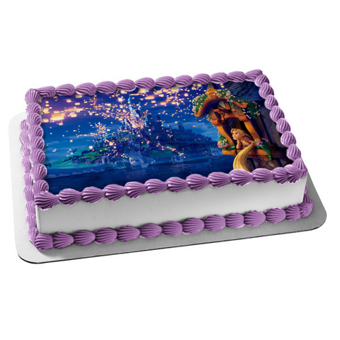 Disney Tangled Rapunzel Out Castle Window Fireworks Edible Cake Topper Image ABPID00364