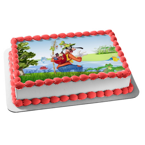 Disney Mickey Mouse and Friends Goofy Fishing Frogs Edible Cake Topper Image ABPID00491