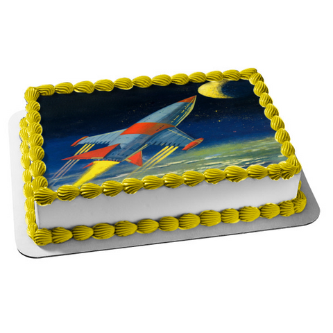 Outer Space Rocket Ship Moon Edible Cake Topper Image ABPID00561
