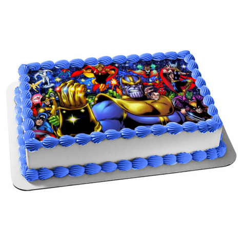 Marvel Infinity War Thor Thanos Infinity Gauntlet Edible Cake Topper Image ABPID00581