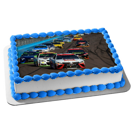 Nascar Racing Track Cars Edible Cake Topper Image ABPID00656