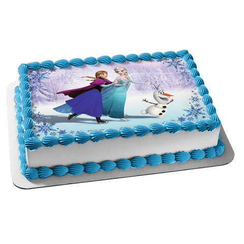 Disney Frozen Anna Elsa Olaf Skating Edible Cake Topper Image ABPID00691