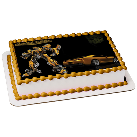 Transformers Bumblebee Autobot Goldwheels Chevy Edible Cake Topper Image ABPID07236