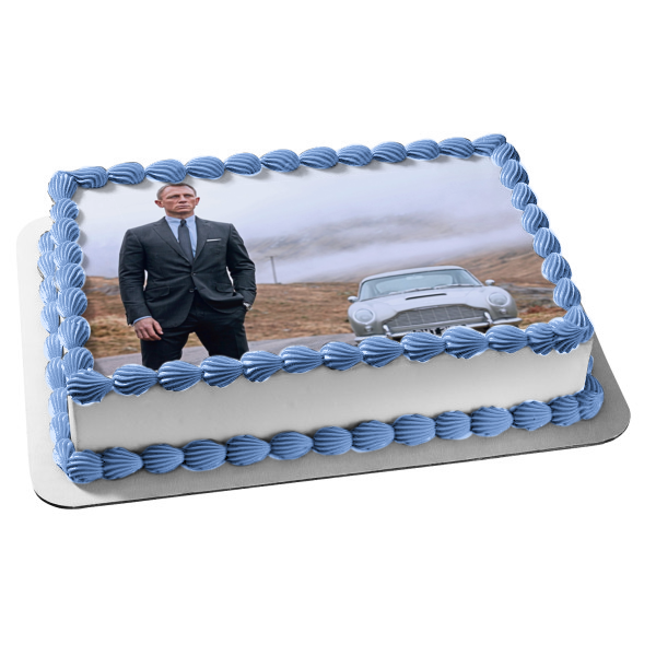 James Bond 007 No Time to Die Aston Martin DB5 Classic Car Edible Cake Topper Image ABPID50885