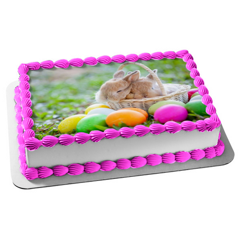 Happy Easter Easter Bunnies In Basket Easter Eggs Edible Cake Topper Image ABPID51208