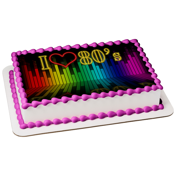 I Love the 80's Decades Party Dance 80s Music Edible Cake Topper Image ABPID51272