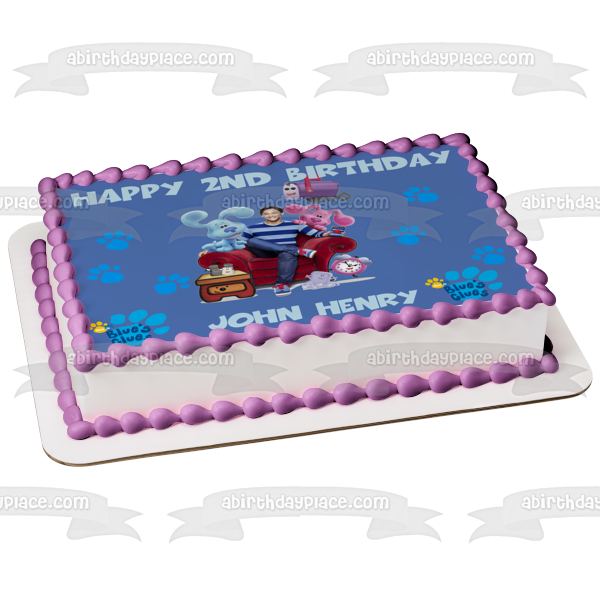 New Blue's Clues Josh Blue Magenta Mailbox Nick Jr Blues Clues Personalized Edible Cake Topper Image ABPID50650