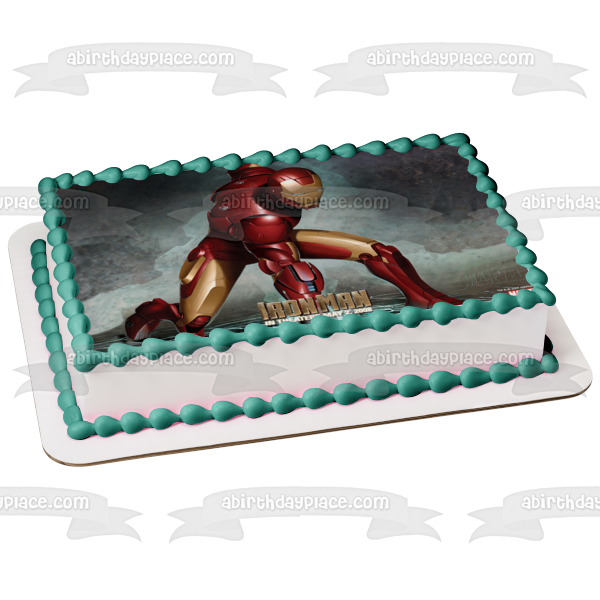 Marvel Iron Man Grey Background Edible Cake Topper Image ABPID06033