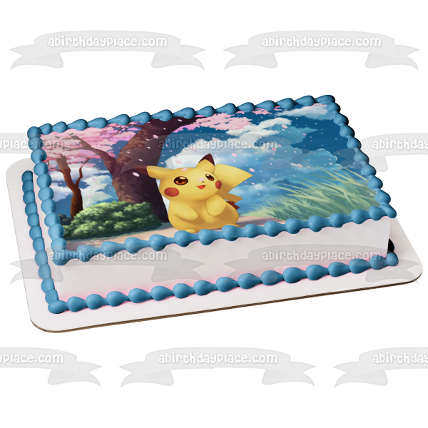 Pokemon Pikachu Cherry Blossom Tree Edible Cake Topper Image ABPID50400