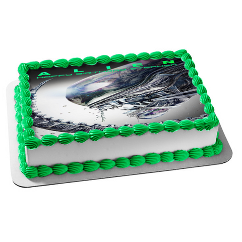 Alien Movie Poster Customizeable Tagline Edible Cake Topper Image ABPID52358
