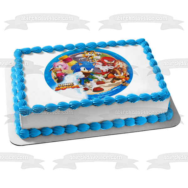 Sonic the Hedgehog Boom Amy Rose Knuckles the Echidna Edible Cake Topper Image ABPID03353