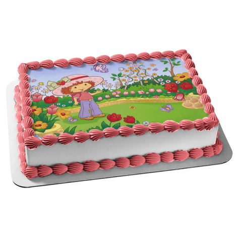 Strawberry Shortcake Butterflies Flowers Edible Cake Topper Image ABPID08469