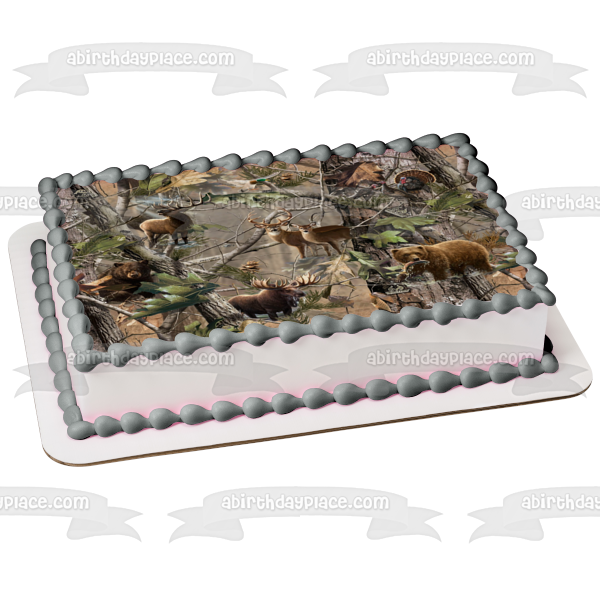 Camouflage Hunting Deer Bear Moose Turkey Tree Camo Edible Cake Topper Image ABPID03239
