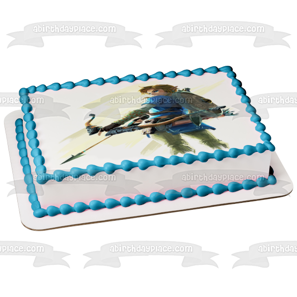 Legends of Zelda Breath of the Wild Link Bow and Arrow Edible Cake Topper Image ABPID22509
