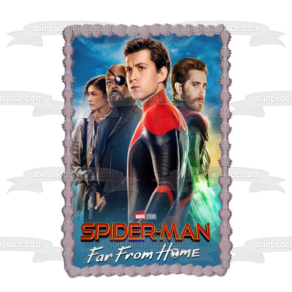Spider-Man Far from Home Nick Fury Mj Mysterio Spider-Man Edible Cake Topper Image ABPID50359