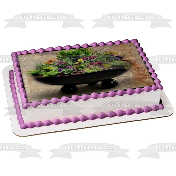 Decorative Pink and Purple Flowers Edible Cake Topper Image ABPID52535