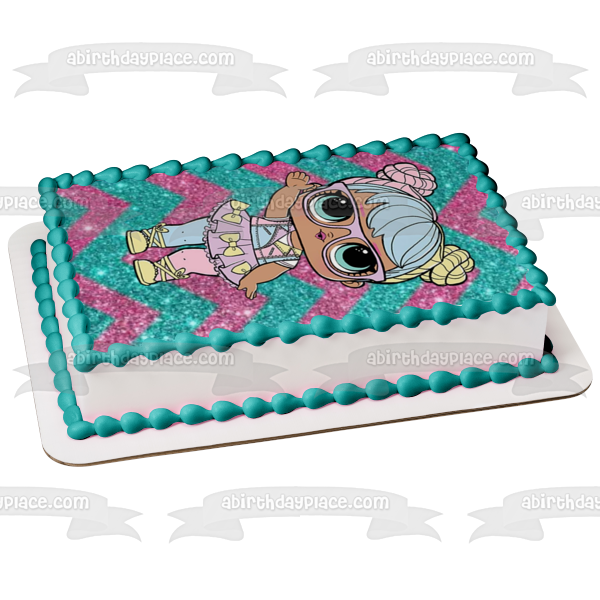 LOL Surprise Lil Outrageous Pink Blue Sparkly Background Edible Cake Topper Image ABPID50959