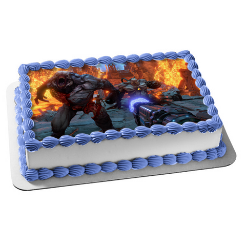 Doom Eternal Sci-Fi Shooter FPS Gaming Monsters Edible Cake Topper Image ABPID52647