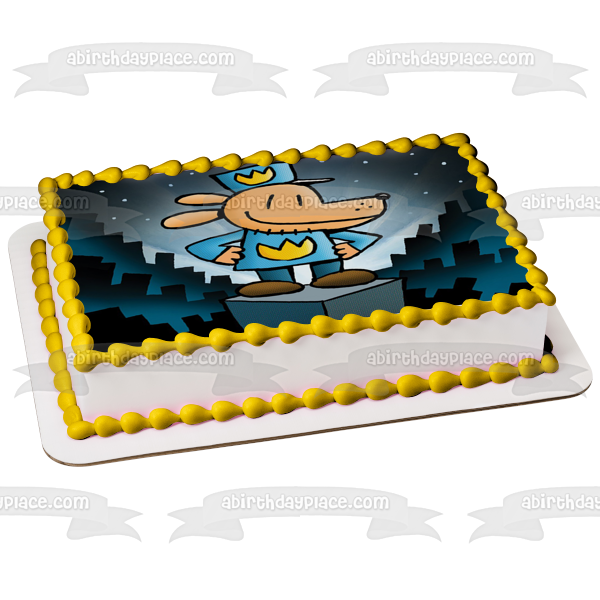 Dog Man Police Officer Original Book Cover Edible Cake Topper Image ABPID51083
