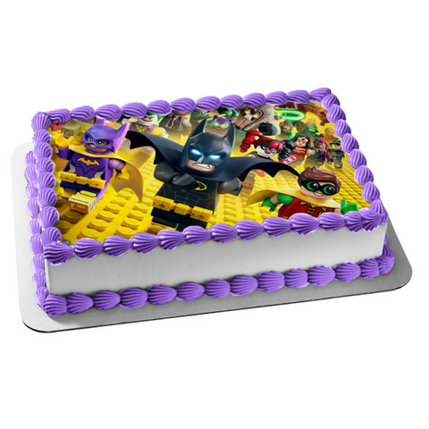 The LEGO Batman Movie Robin Batwoman the Joker Harley Quinn Edible Cake Topper Image ABPID00882