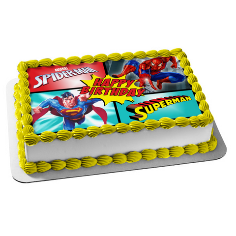 Marvel DC Superman Spider-Man Comic Super Hero Happy Birthday Edible Cake Topper Image ABPID52902