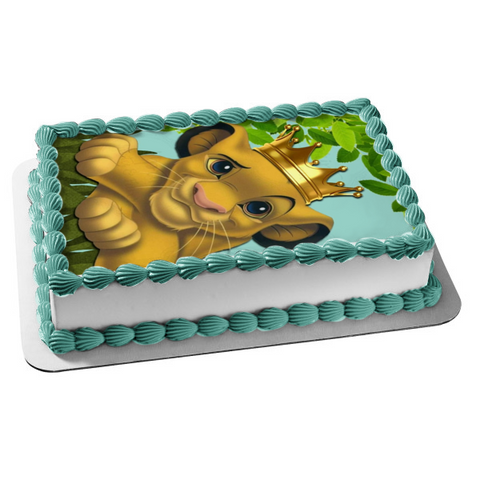 Disney The Lion King Simba Gold Crown Edible Cake Topper Image ABPID09813