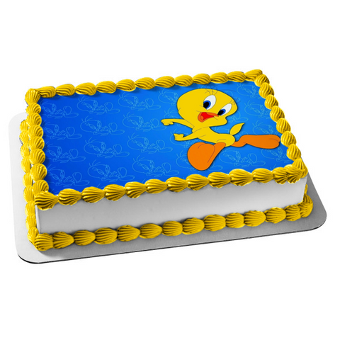 Looney Tunes Tweety Bird Blue Background Edible Cake Topper Image ABPID00990