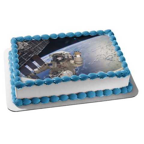 Outer Space Astronaut Space Man Space Walk Space Station Edible Cake Topper Image ABPID01015