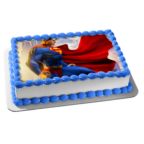 DC Comics Superman Standing Cape Waving Buildings Edible Cake Topper Image ABPID01137