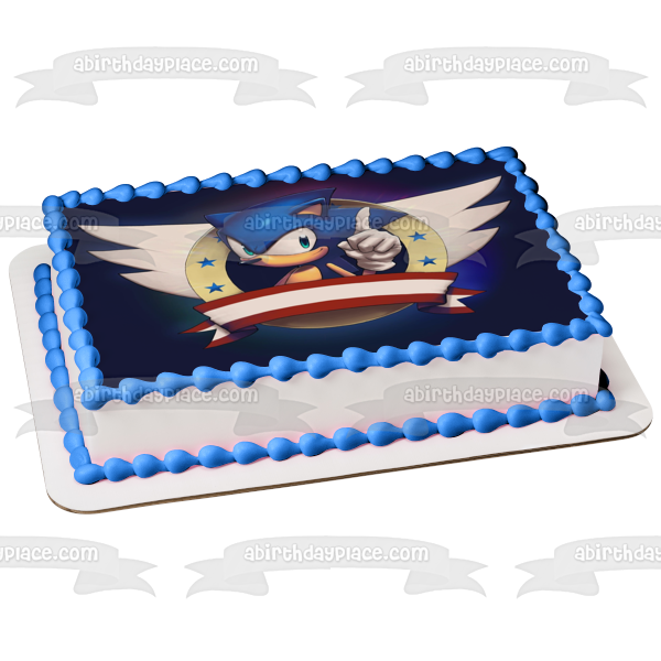 Sonic the Hedgehog Wings Stars Red Banner Edible Cake Topper Image ABPID06767