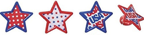 USA Pattern Star Cupcake Rings (12 pieces)